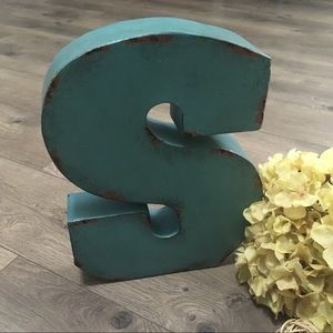 Distressed shabby chic teal metal letter S